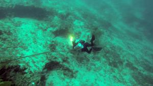 Rebreather diver at 60 m
